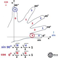 Interesting show - how calculate the value of the sine, cosine, tangent and cotangent of the angle 0◦, 30◦, 45◦, 60◦, 90◦. The fingers are numbered s... - Matematyka - Matematyczny Świat - Google+