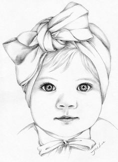 Custom baby girl or family pencil portrait drawing from a photo trendy baby drawing face design reference ideas drawing baby Portrait Au Crayon, Pencil Portrait Drawing, Drawing Drawing, Drawing Ideas, Drawing Faces, Drawing Portraits, Drawing Tutorials, Drawing Techniques, Pencil Drawings Of Girls