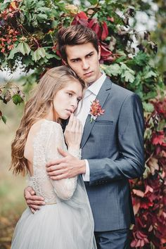 A Fairytale Autumn Wedding Inspired Editorial In shades of autumn colours of misty grey and deep red