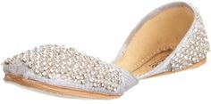 Unze L16226 Women Handmade Leather Flat Crystals, Beads Indian