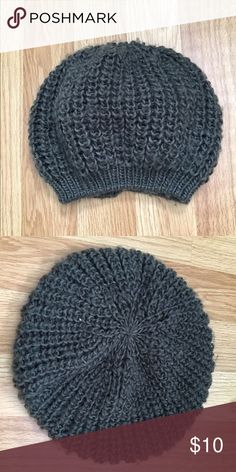 Gray knit beanie Loose fitting gray knit beanie. Perfect condition had for a while never worn Accessories Hats