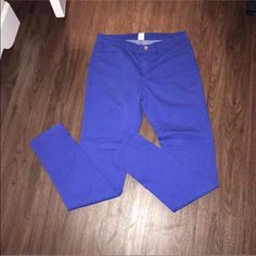 Royal blue skinny jeans Never worn. Size 28 . I also have on fire engine  red! Pants Skinny