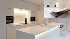 Kitchen by Belgian architect Filip Deslee. I like the white marble slab on the backwall of the kitchen as subtle accent within the white space.