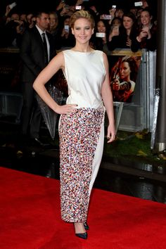 In Christian Dior at the London premiere of The Hunger Games: Catching Fire.   - ELLE.com