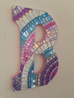 Nursery Wall Art Letter Art Mosaic Monogram Pink by HamptonMosaics