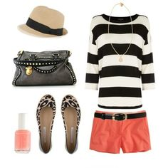 Love the coral, bold stripes, and leopard... capris instead of shorty shorts