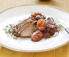 Brisket with Fruit and Red Wine Sauce made easy with a slow cooker but your friends will think you slaved away for hours!