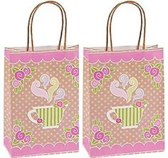 12 pack - Tea Party Kraft Paper Gift Bags