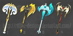 Fantasy Axes (set by Rittik-Designs on DeviantArt Anime Weapons, Fantasy Weapons, Character Concept, Character Design, Character Ideas, Cute Drawlings, Sword Drawing, Magical Jewelry, Art Corner
