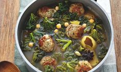 Turkey Meatballs and Kale in Lelmon Broth by Yotam Ottolengi via the guardian: 'Food for the soul on a glum winter evening.' Image creit Johanna Parkin. #Soup #Turkey_Meatballs #Kale #Lemon #Health