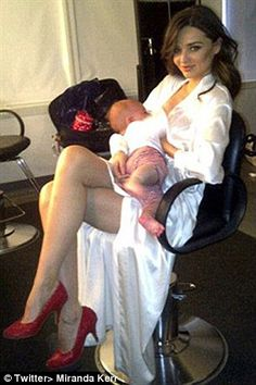 Miranda Kerr shared this picture of her looking glamourous while breastfeeding her son, Flynn