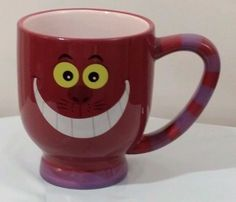 Disney World Parks Alice Cheshire Cat Striped Ceramic Coffee Cup Mug gently used