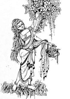 Girl Drawing Sketches, Pencil Art Drawings, Indian Art Paintings, Modern Art Paintings, Madhubani Art, Indian Folk Art, Madhubani Painting, India Art, Pen Art