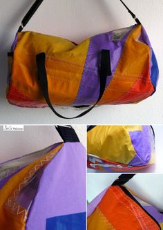 Sportsbag made of surfsail. I made the bottom extra strong with the original clew of the surfsail. (for sale: dawanda.com) Diy Backpack, Last Stitch, Diy Clothes, Banners, Fun Crafts, Gym Bag, Sailing, Recycling, Backpacks