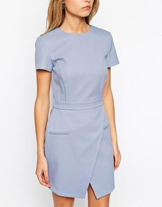 Image 3 of ASOS Dress with Bonded Asymmetric Wrap