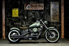 Army V Star 650 Bobber Motorcycle in OD Green