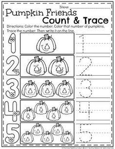 Preschool Pumpkin Worksheets for October