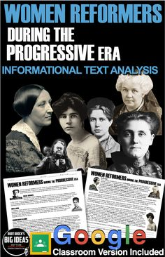 Women of the Progressive Era Informational Text Analysis teaches students about the gains women leaders made in social services, child labor, temperance, and suffrage during the Progressive Era. Students answer 13 text based questions and complete a small timeline.                                                                                                                               #HistoryLessonPlans #socialstudies #AmericanHistory #USHistory #Highschoollessons History Lesson Plans, Social Studies Lesson Plans, World History Lessons, Teaching Social Studies, History Class, Teaching American History, American History Lessons, Teaching History, Alice Paul