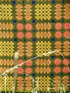 Caernafon tapestry Moss & Terracotta TBV79 - Tapestry Bed Covers Vintage Welsh Blankets