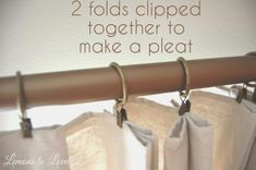 DIY No Sew Drop Cloth Curtains How to make no sew drop cloth curtains to fit any window size. This is a cheap and easy alternative to expensive drapes and window treatments. No Sew Curtains, Pleated Curtains, Rod Pocket Curtains, Blackout Curtains, Ikea Curtains, Burlap Curtains, Window Curtains, Ikea Curtain Rods, Sheet Curtains