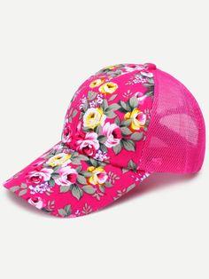 Floral Print Front Hot Pink Mesh Snapback Baseball Cap Pink Baseball Cap 1ccb415f6cc0