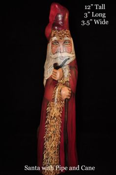 Santa Claus with Pipe and Cane Cypress Knee from by Santas2Sell, $60.00