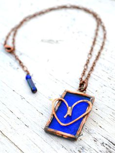 My Favorite!   Heart Necklace Blue Stained Glass with Copper by BayouGlassArts, $32.00