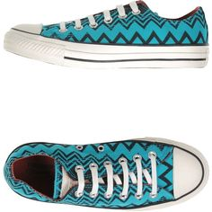 Converse All Star Missoni Sneakers ($76) ❤ liked on Polyvore featuring shoes, sneakers, turquoise, rubber sole shoes, converse footwear, flat sneakers, print shoes and print sneakers
