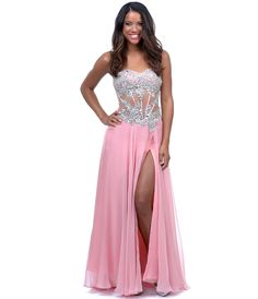 Blush Jersey Embroidered Strapless Mesh Corset Gown #uniquevintage #prom