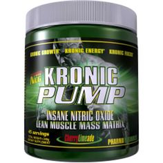 """What is KRONIC PUMP? KRONIC PUMP by Pharma Resources is a specifically designed """"INSANE"""" N.O. Pre-workout formula that will maximize quickly the impact of an athlete prior and during training. The complex array of specialized """"Cutting-Edge"""" nutrients and compounds will allow for an immediate """"MIND BLOWING"""" increase in energy, mental focus, over-all alertness, and improved recovery time while developing new """"LEAN MUSCLE MASS"""" in minimal time frames."""