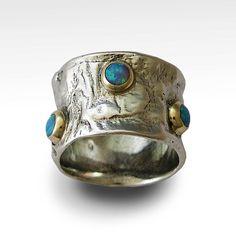 Anillo de plata esterlina anillo de ópalos banda por artisanlook