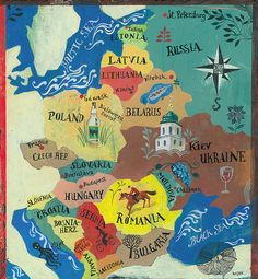 Map of Eastern Europe. Probably going to have to hit up Latvia, too! Eastern Europe Map, Central And Eastern Europe, Eastern Travel, Berlin Paris, Map Painting, Poster S, Thinking Day, Travel And Leisure, Travel Posters