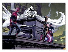 Spider-Man, Wolverine, Captain America & Moon Knight by Alex Maleev