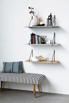 House Doctor Moments Collection A/W 2014 (via Bloglovin.com ) put this kind of setup along wall to create an entry.  Add art to empty space.  Love black and white stripe on bench)