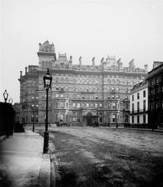 The Langham Hotel, London. Opened in NB BBC Broadcasting House now stands on the LH side of this photograph. Victorian Life, Victorian London, Vintage London, Old London, Haunted Hotel, Most Haunted, London History, British History, 19th Century London