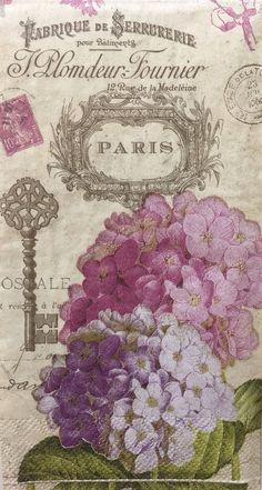 2+Two+Paper+Napkins+Decoupage+Guest+Towels+Hydrangea+Paris+Floral+Creative+#CreativeConverting