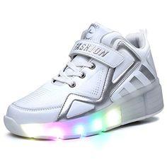 Toddler//Little Kid//Big Kid KKIDSS LED Light Up Shoes Kids Boys Girls Leather Fashion Sneakers