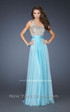 long one shoulder silver and light blue prom dress