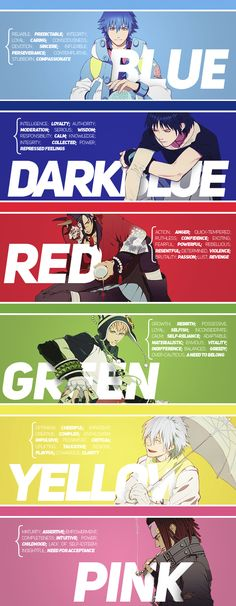 positive + negative traits of the colors associated with DRAMAtical Murder characters (source: dmmdonline.tumblr.com)