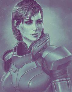 Mass Effect art.  Commander Shepard