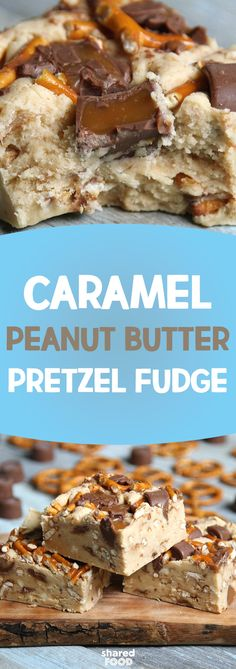 Caramel, peanut butter, and pretzels! This mix of sweet and salty is the perfect combination for any taste!  Enjoy a delightful mix of soft and crunchy in this decadent fudge compilation. Combining a few of your favorite treats, this easy to make dessert is sure to have your guests raving!