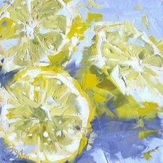 Three Lemons on Lilac 096, painting by artist David Boyd, Jr