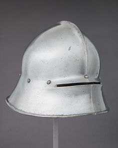 Sallet Date: ca. 1480 Culture: German Medium: Steel, leather Dimensions: H. 8 3/4 in. (22.2 cm); W. 10 3/8 in. (26.4 cm); D. 14 1/2 in. (36.8 cm); Wt. 6 lb. 6 oz. (2892 g) Classification: Helmets Credit Line: Gift of William H. Riggs, 1913 Accession Number: 14.25.576