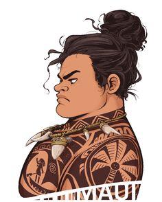 Maui - Serious Hair Bun [Moana] by Skydrathik.deviantart.com on @DeviantArt