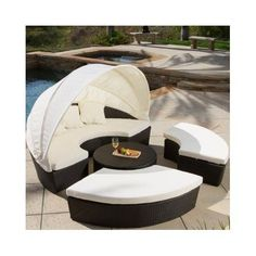 Outdoor+Canopy+Daybed+Patio+Furniture+Wicker+Pool+Round+Sofa+Cabana+Lounger+Sets+