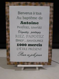 Affiche baptême bienvenue - Decor Tutorial and Ideas Baby Event, Grown Up Parties, First Communion, Holidays And Events, Christening, Diy Gifts, Buffet, Baby Shower, Invitations
