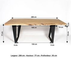 Table à manger bois massif tronc darbre pieds métal Timber Table, Metal Table Legs, Dining Table Design, Solid Wood Dining Table, Coffee Table Design, Dining Room Table, Steel Furniture, Wood And Metal, Metal Solid
