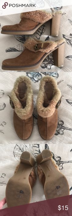 """BCBGirl leather and shearling lug sole mule Bought on Posh but don't wear,, great faux shearling inside and suede exterior  with side buckle and with lug sole and almost 4"""" heel BCBGirls Shoes Mules & Clogs"""