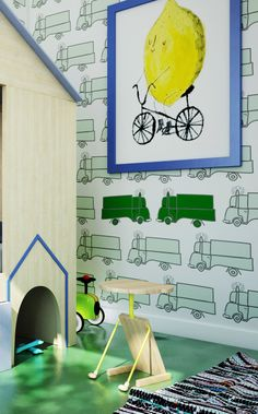 Humpty Dumpty Room Decoration. Green cars at boy's room.