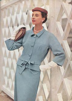 Marie-Thérèse in pale blue gabardine suit, jacket is long … Vintage Fashion 1950s, Vintage 1950s Dresses, Balenciaga, Peplum Dress, Shirt Dress, Vintage Magazines, Black Patent Leather, Style Icons, Raincoat